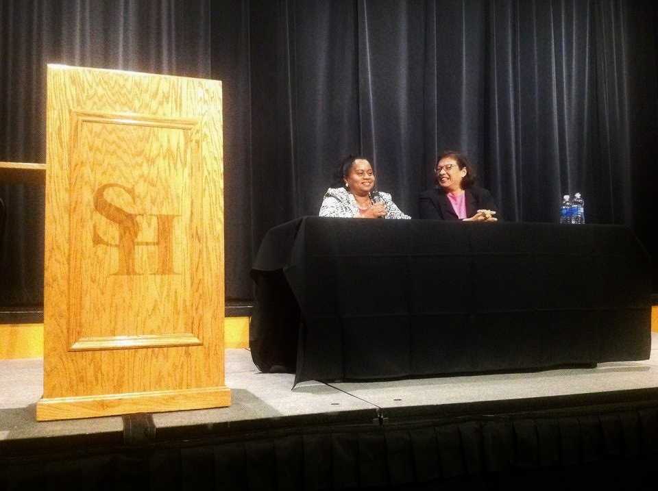Lourdes and Sonia spoke at Sam Houston State University, 2015.