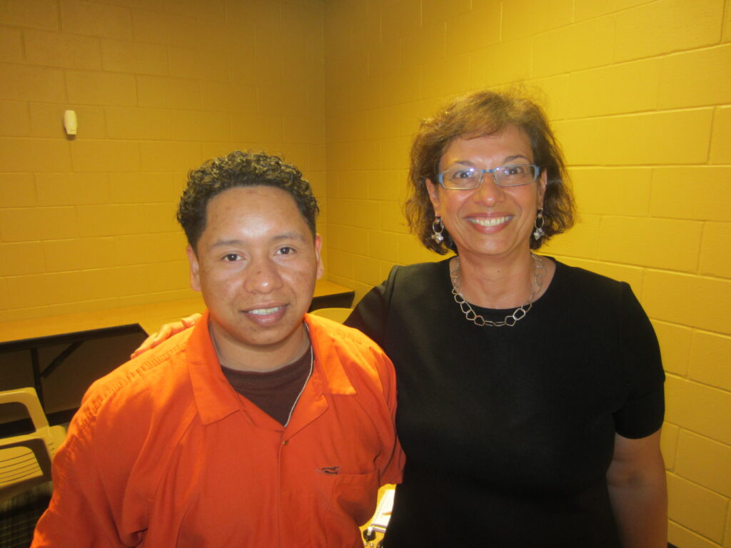 Enrique and Sonia Nazario in 2013 at the Baker County Detention Center in Florida where Enrique was being held. [Credit: Sonia Nazario]