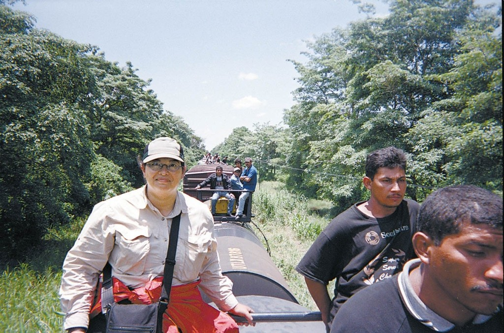 "Sonia Nazario atop the ""train of death"" in Mexico."