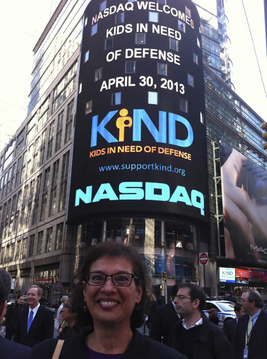 Sonia and KIND ring the NASDAQ closing bell in New York's Time Square