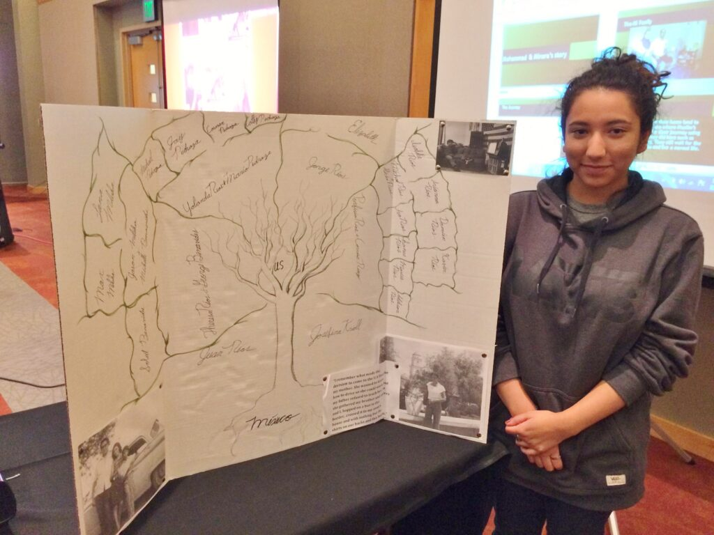 This University of New Mexico student asked her family for the first time about their history and displayed this impressive family tree at the 2015-16 Lobo Reading Experience.