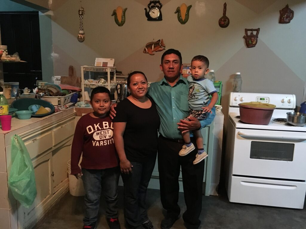 Sonia visited Enrique's sister Belky , seen here with her husband and two sons, in the summer of 2016. They had just finished expanding their tiny home to accommodate their growing family.