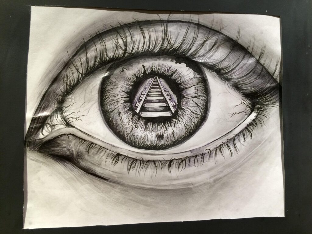 """What We See,"" artwork by a student at Sam Houston State University in Huntsville, Texas."