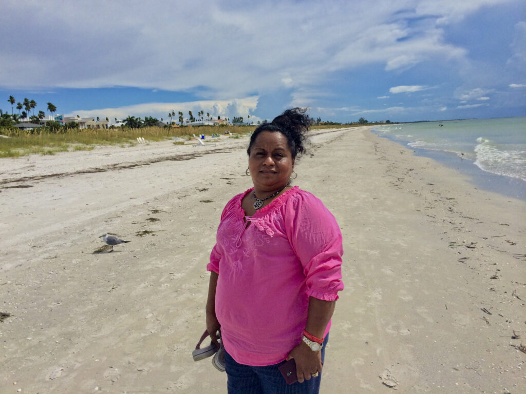 Lourdes on the beach in Florida, 2014.