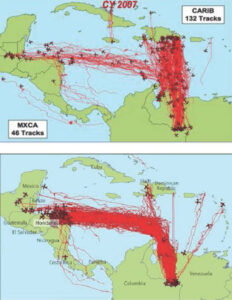 The top graphic shows suspected drug flights in 2007 largely doing to the Caribbean. The bottom graphic shows the 2011 flights largely going to Honduras. Image is from the Joint Interagency Task Forth South.
